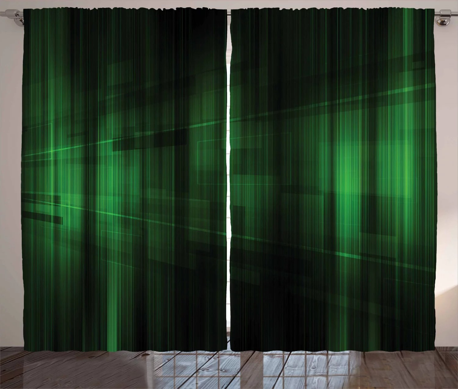 forest green curtains 2 panels set vibrant technology pattern with vertical lines digital technical themed print window drapes for living room