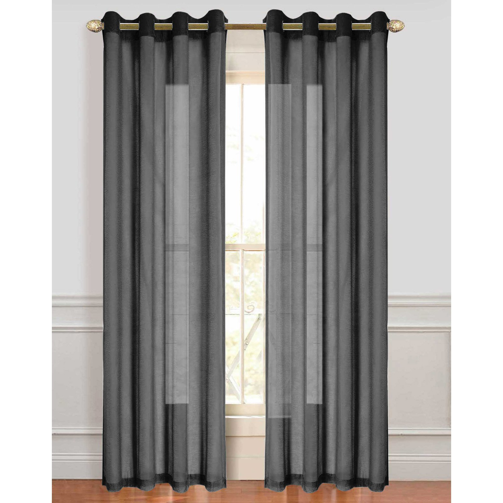 dainty home malibu window curtain panel set of 2 84 x 110 black walmart com