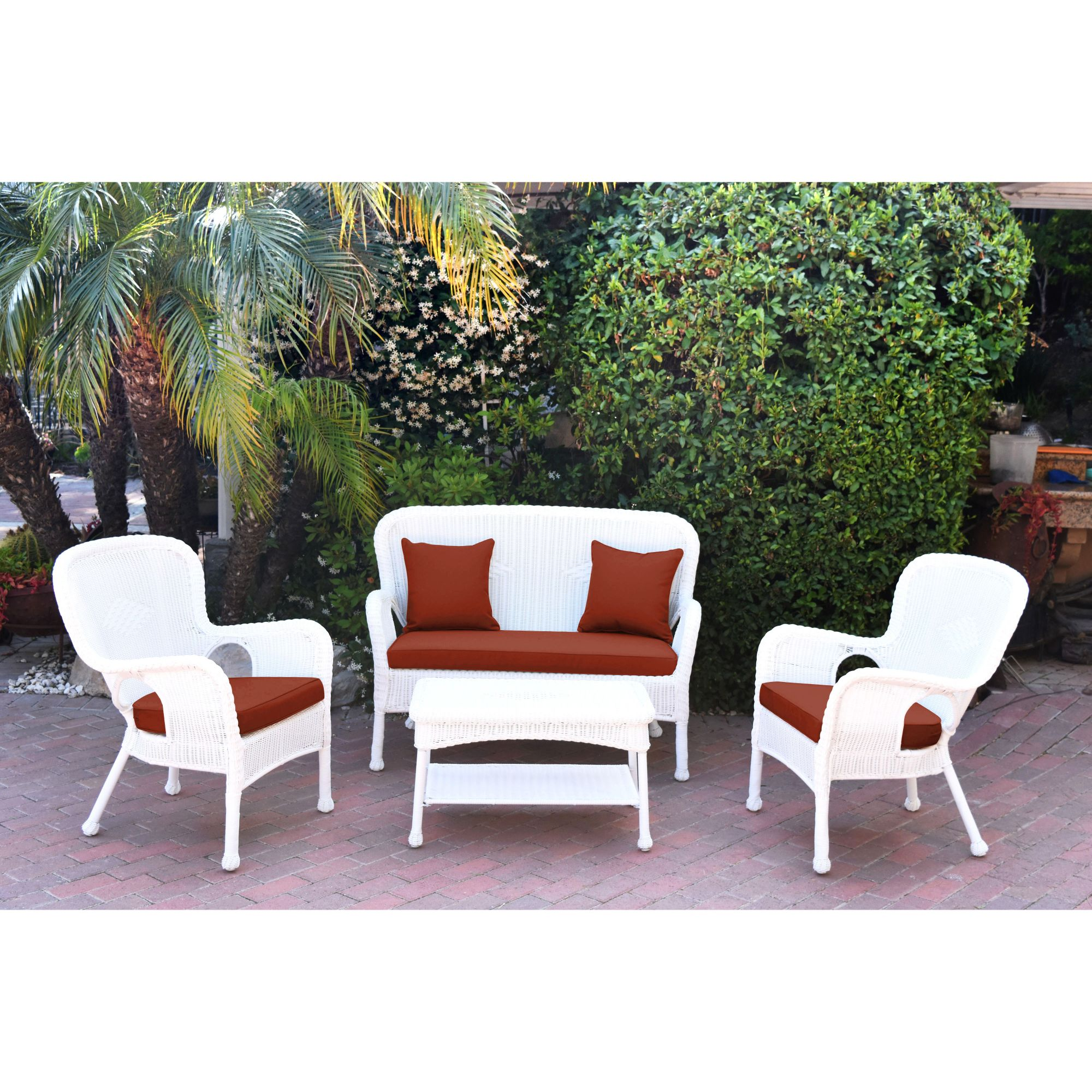 4 piece white wicker outdoor furniture patio conversation set brick red cushions