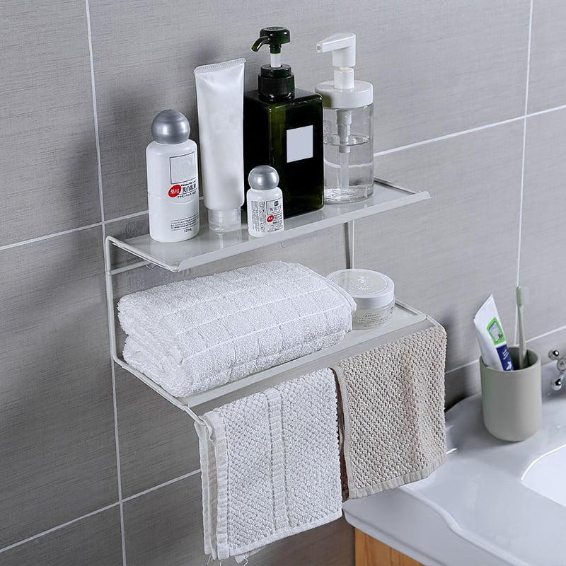 bathroom shelves wall mounted 2 tier wall shelf over toilet towel rack with towel bar floating shelf towel holder