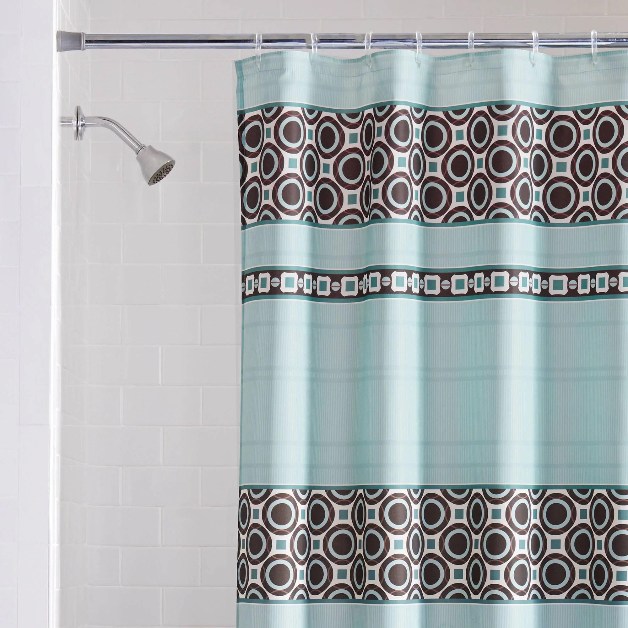 mainstays dimitri fabric blue shower curtain 1 each walmart com