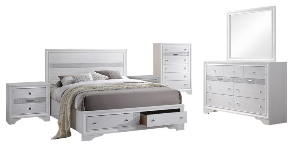 tokyo 6 piece contemporary bedroom set king white wood