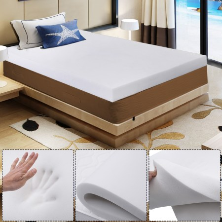 Costway 3 Queen Size Shred Memory Foam Mattress Pad Bed Topper 80 X60