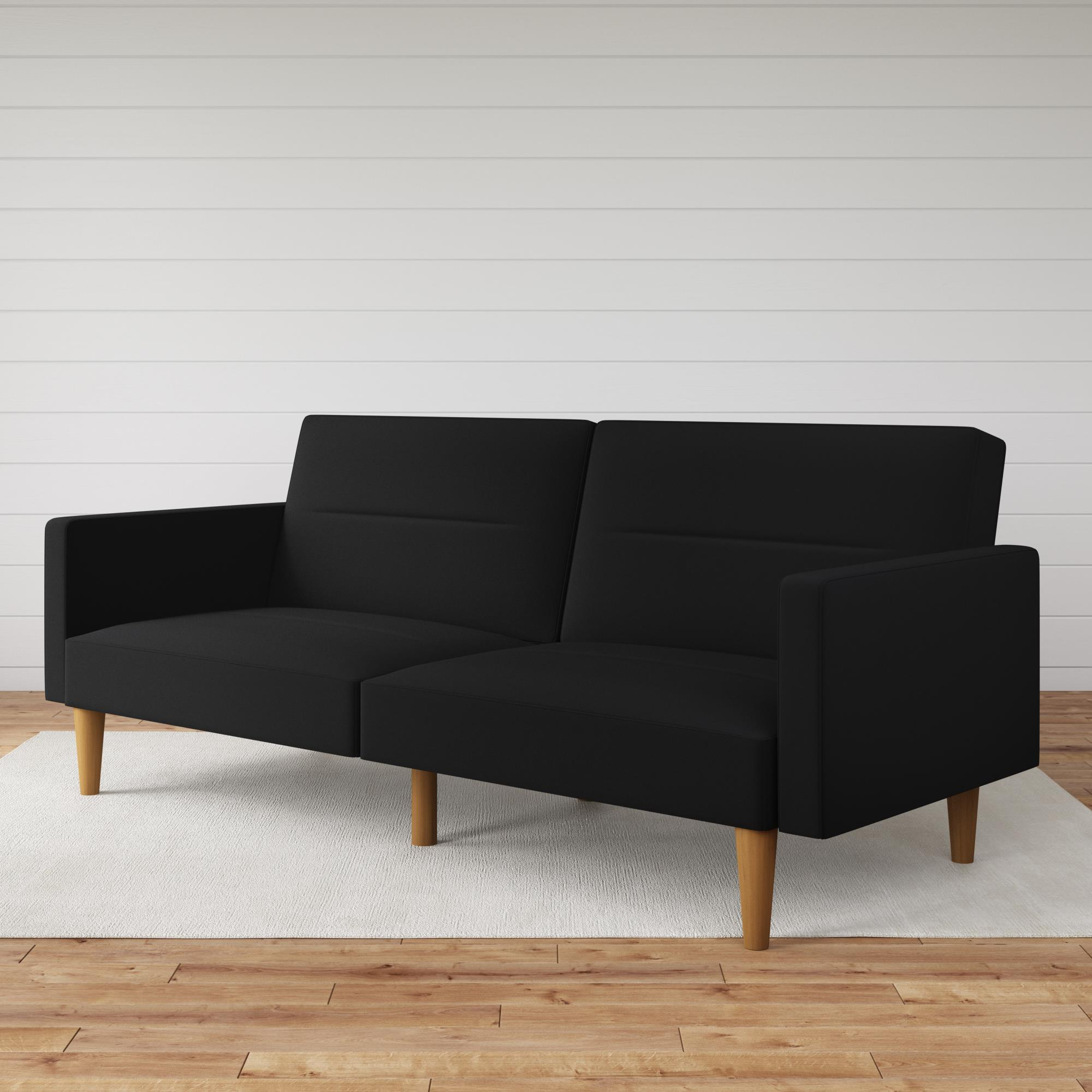 mainstays channel tufted futon convertible sofa couch black linen