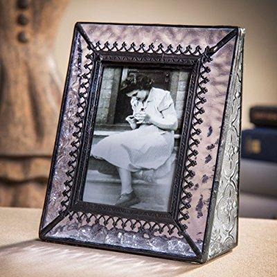 j devlin pic 376-2535 vintage purple glass picture frame table top photo frame school photos 2 1/2 x 3 1/2 keepsake gift