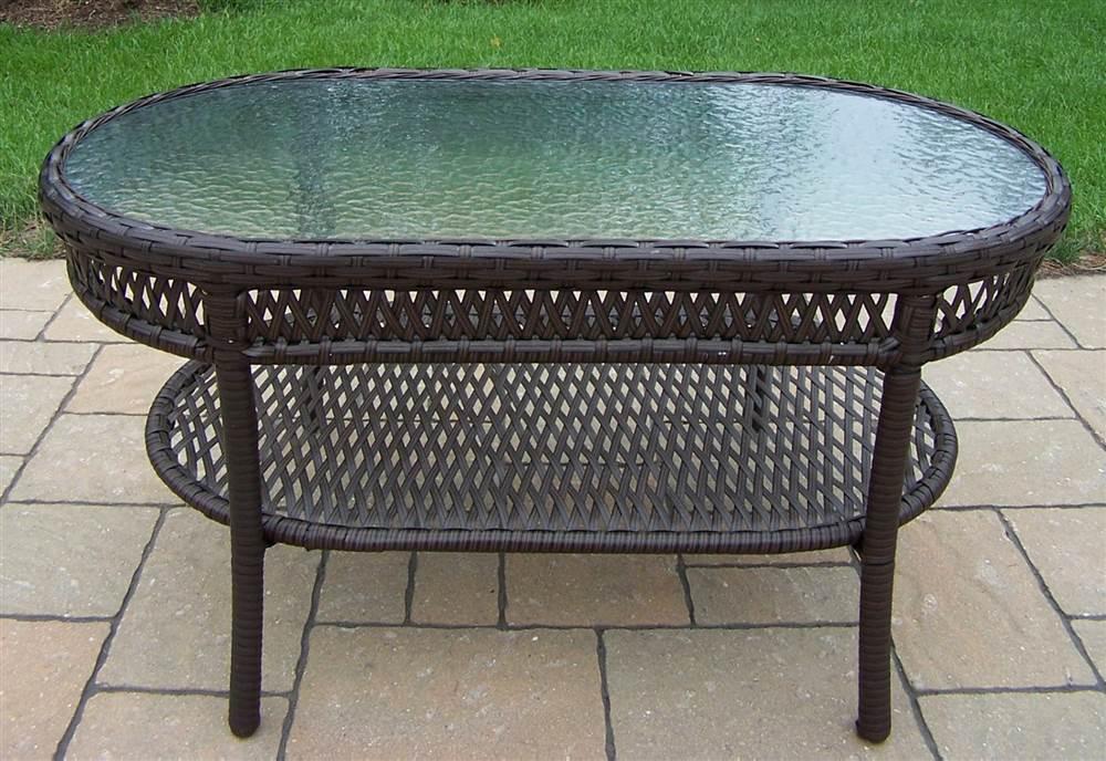 patio coffee table in coffee elite resin wicker