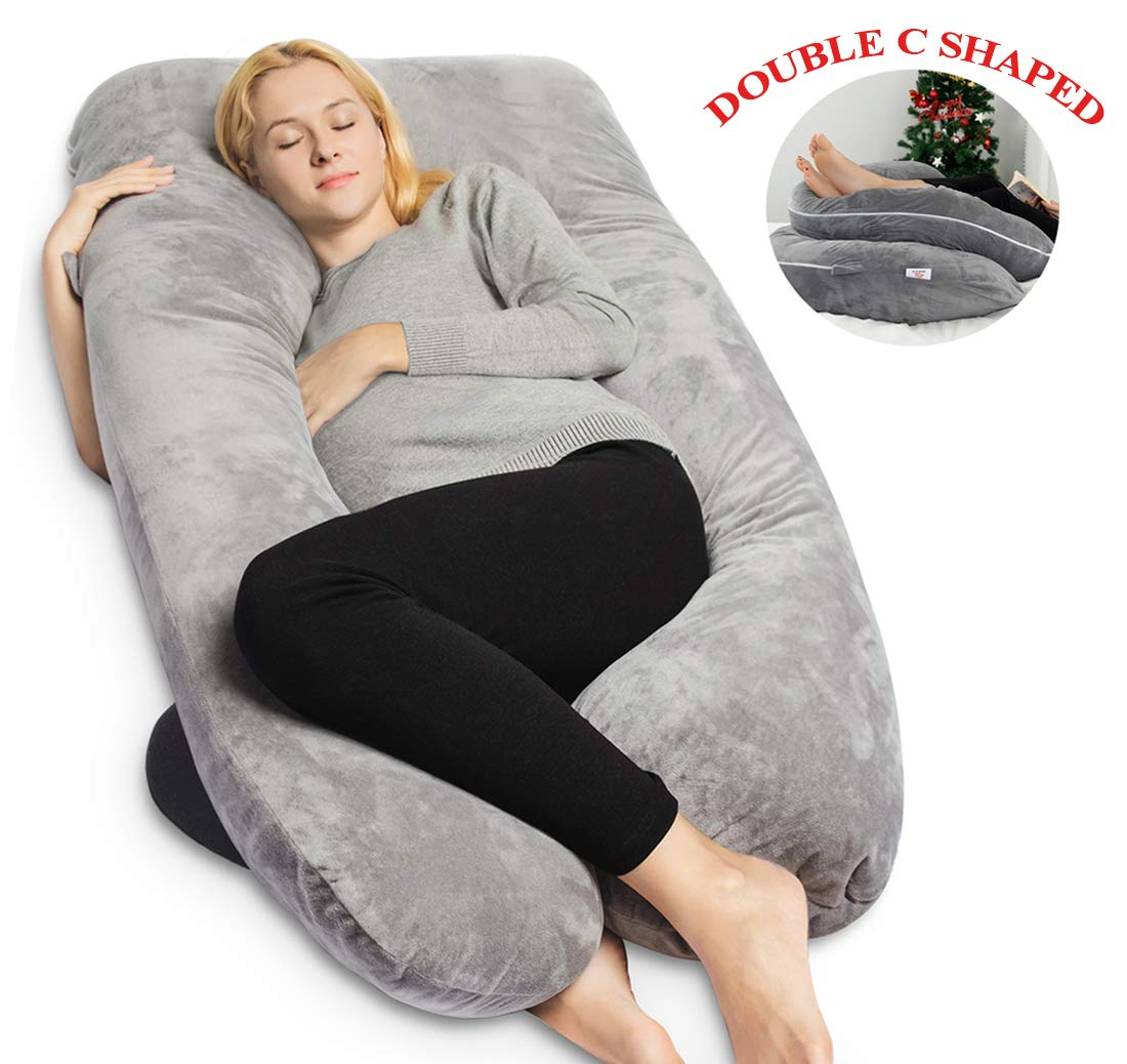 queen rose pregnancy pillow maternity body pillow u shaped with velvet cover machine washable bend to double c shaped pillow gray