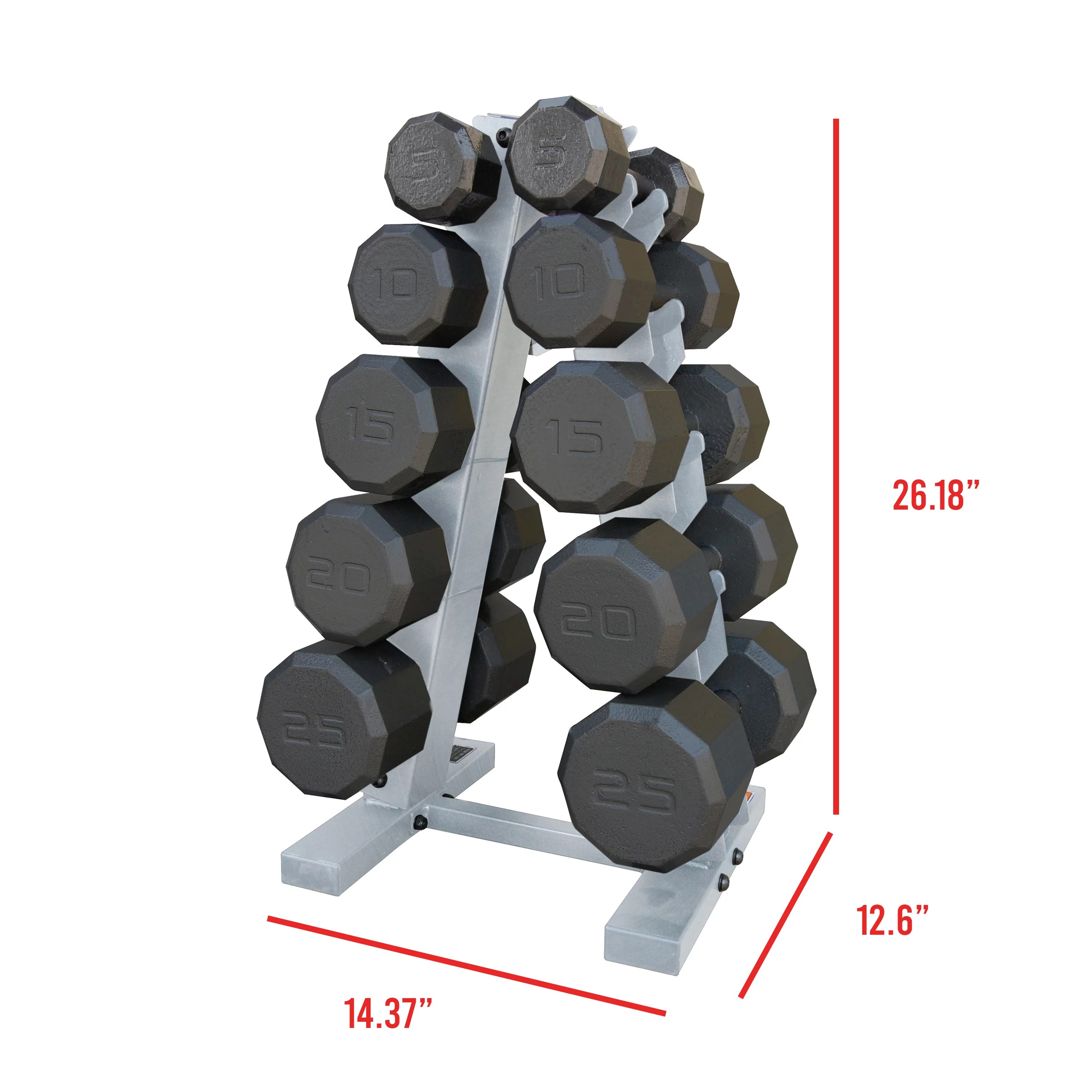 cap barbell 150 lb eco dumbbell set with rack