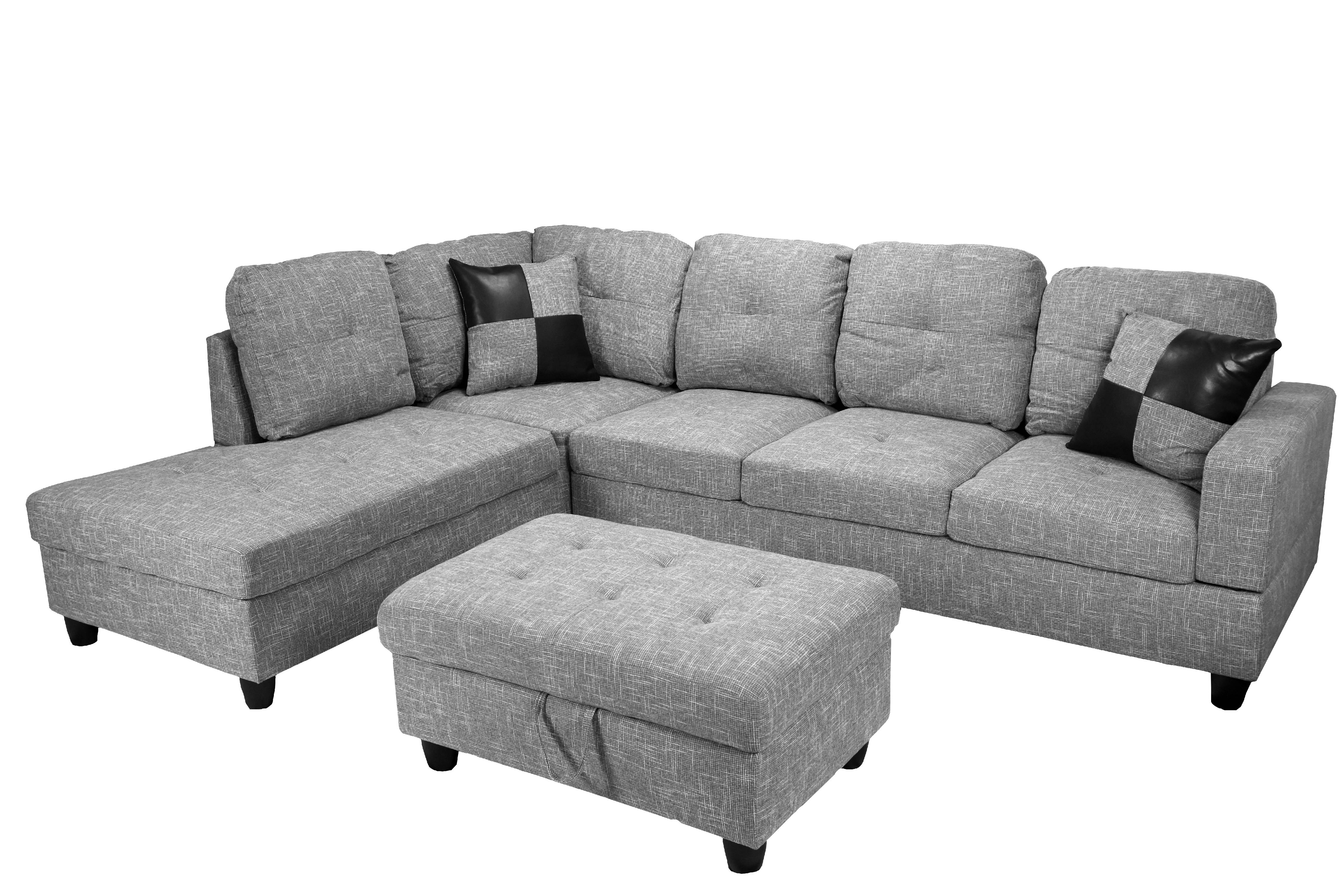 raphael sectional sofa left facing with ottoman multiple colors