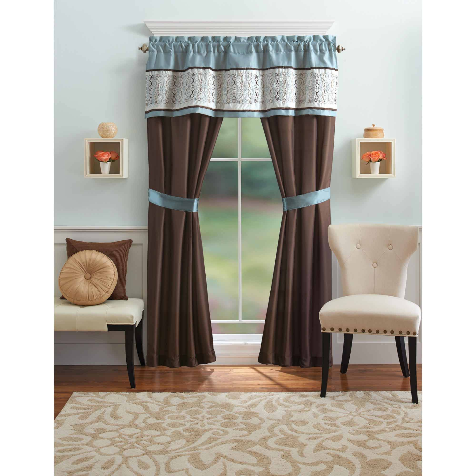 better homes and gardens blue ombre scroll 5 piece window curtains set curtain panels and valance included walmart com