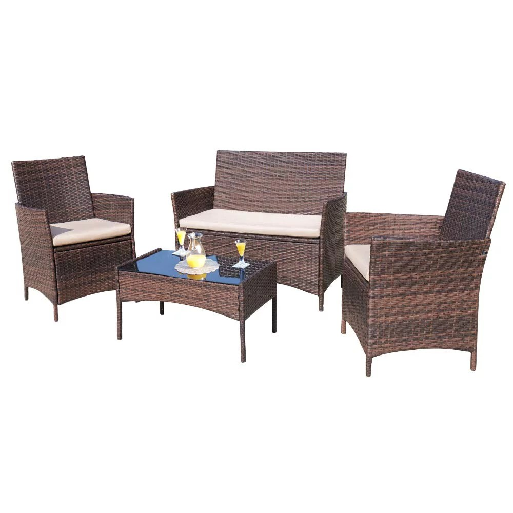 walnew 4 piece outdoor patio conversation furniture sets with cushioned tempered glass