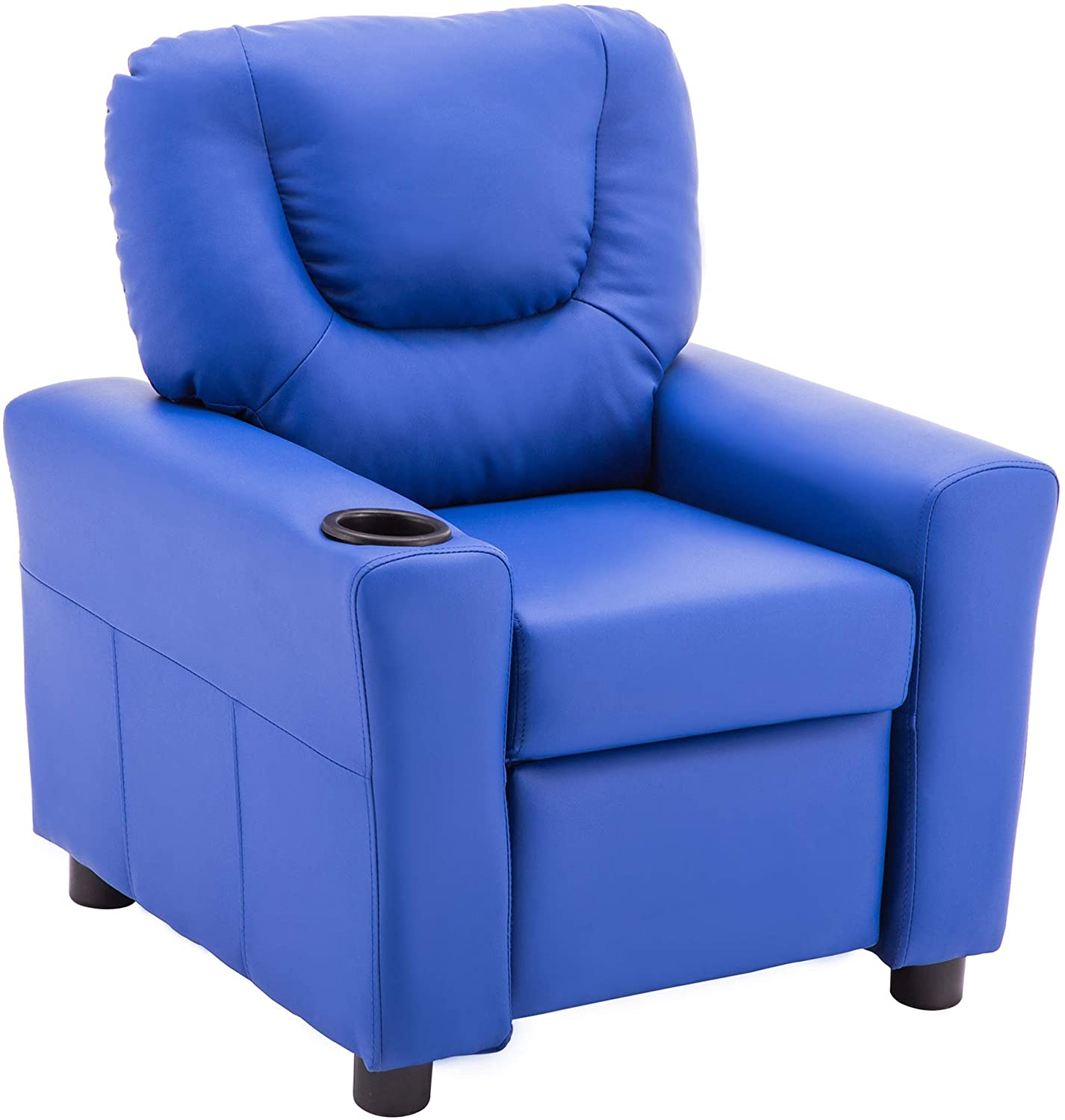 mcombo kids recliner chair armrest sofa couch with cup holder for toddlers boys girls faux leather 7240