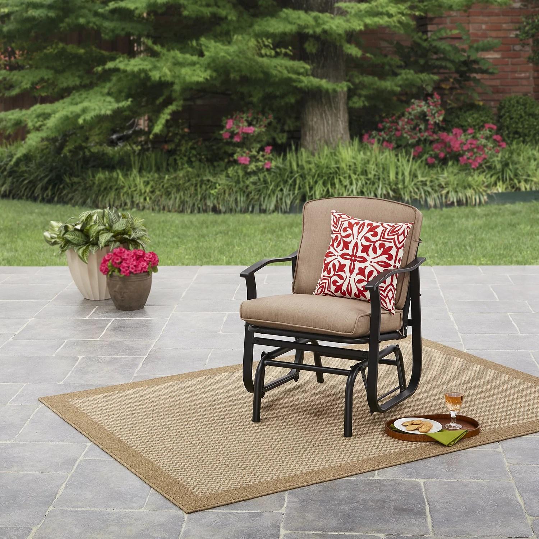 mainstays belden park outdoor glider chair for patio and garden tan