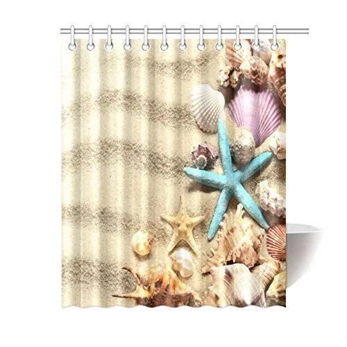 mypop beach house decor shower curtain seashell starfish on summer sandy beach polyester fabric shower curtain bathroom with hooks 60 x 72 inches