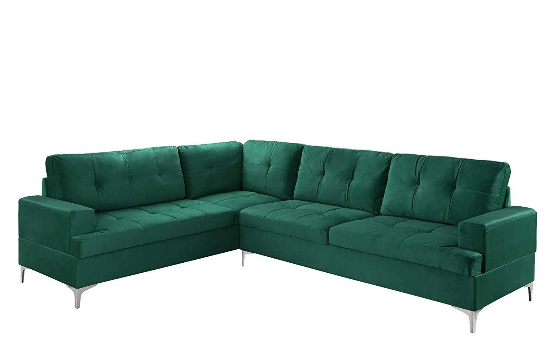 Mobilis Classic Large Tufted Microfiber Velvet L Shaped Sectional Sofa Green Walmart Com Walmart Com