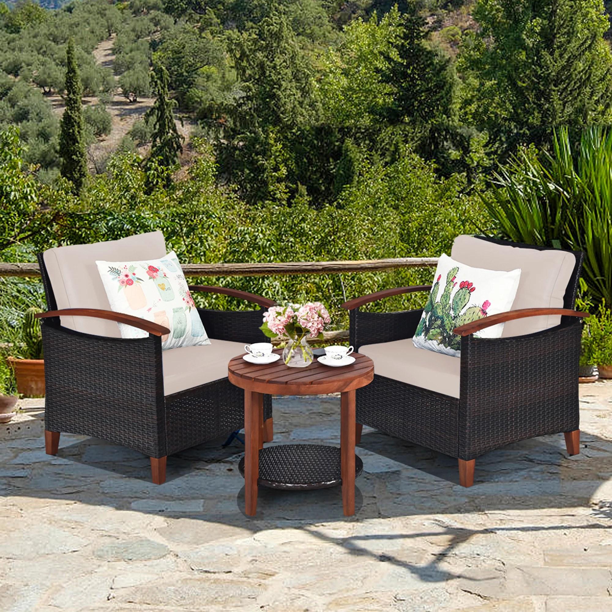 gymax 3pcs patio wicker rattan conversation set outdoor furniture set w beige cushion