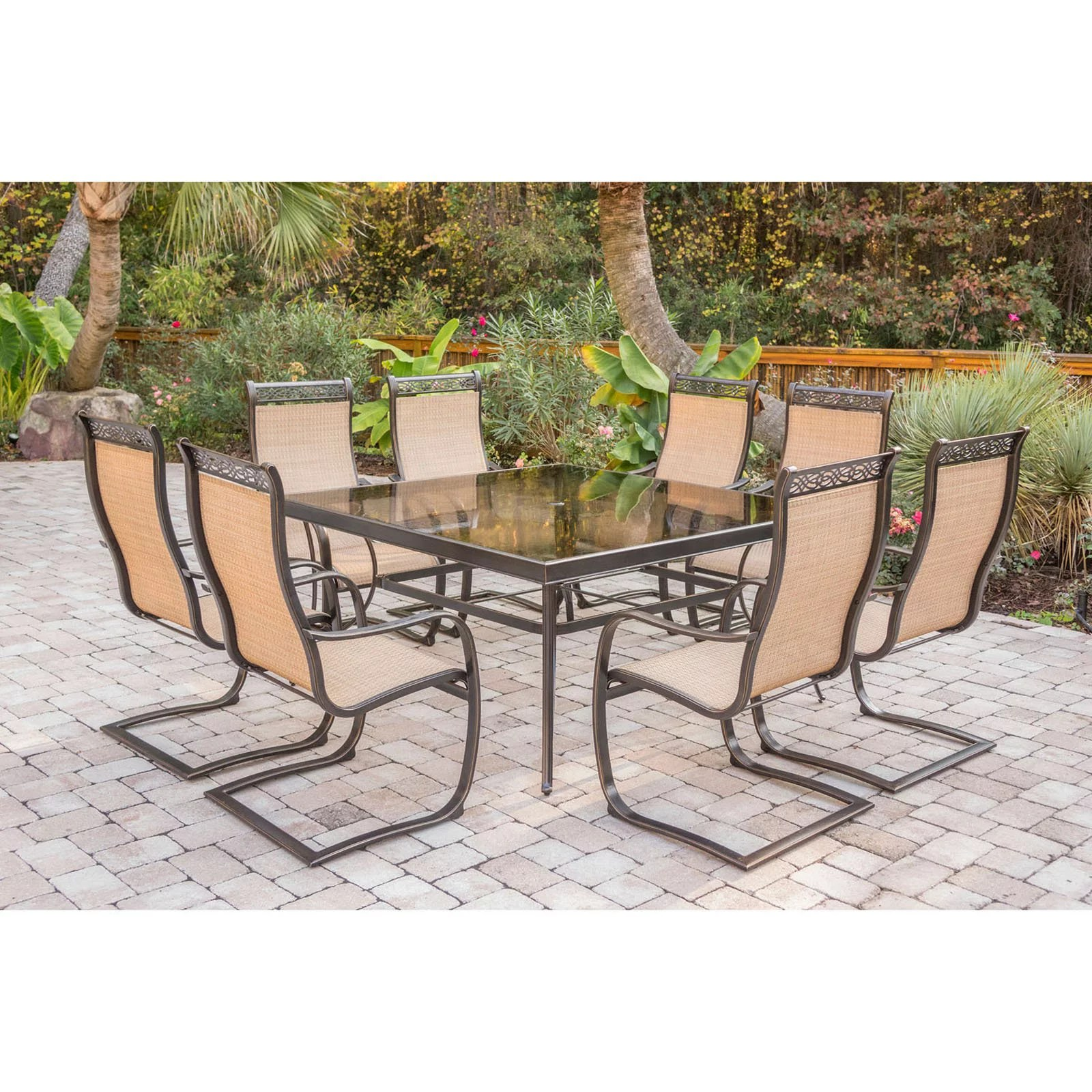 hanover outdoor monaco 9 piece sling dining set with 60 square glass top table and 8 c spring chairs in cedar walmart com