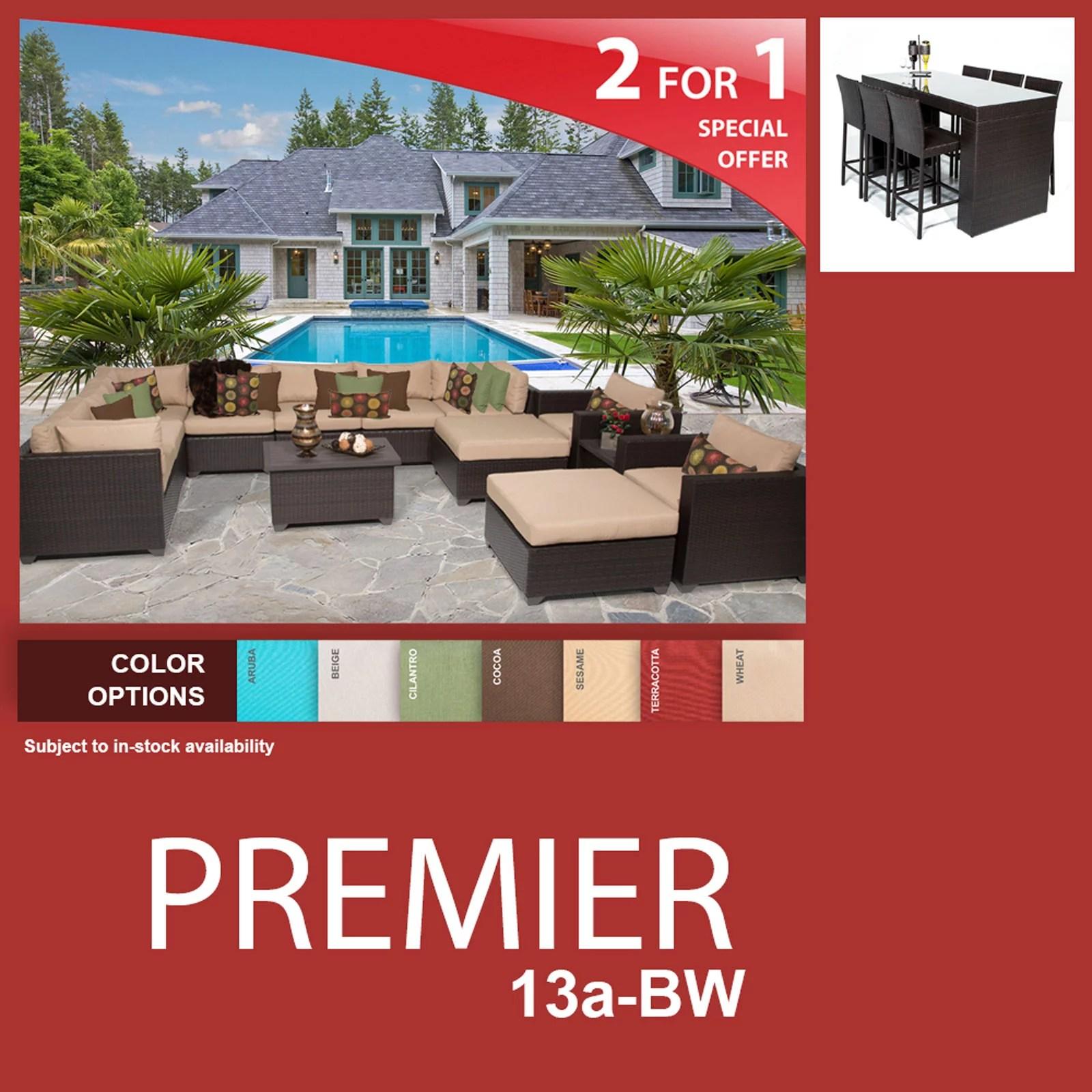premier 20 piece outdoor wicker patio furniture package premier 13a bw walmart com