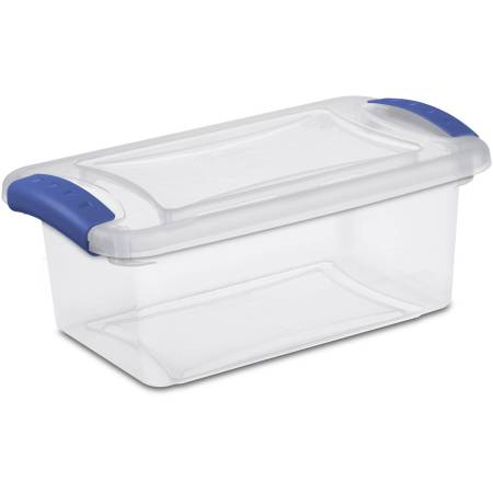 Sterilite 7-quart clear tote with a latching lid.