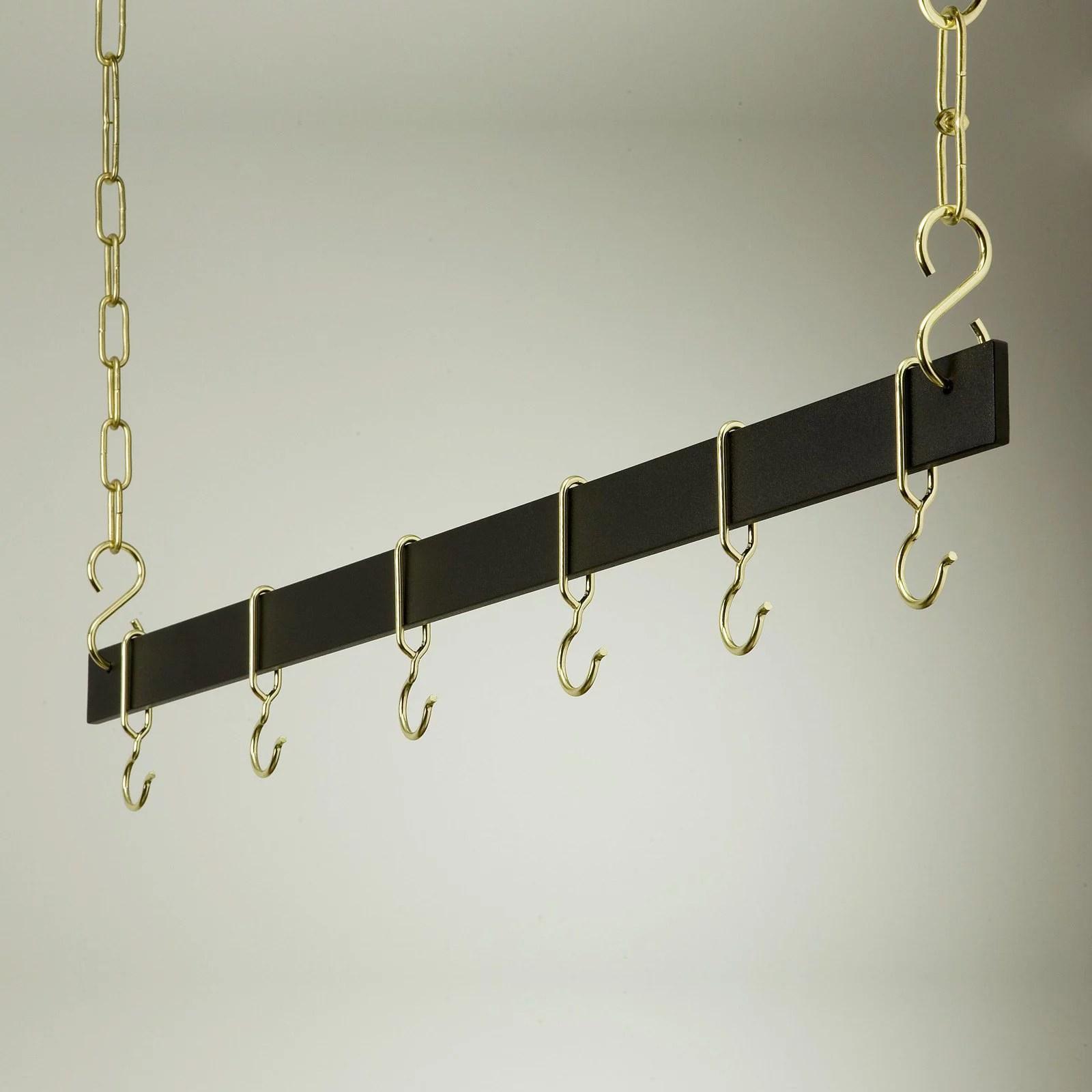 euro black and brass hanging bar pot rack
