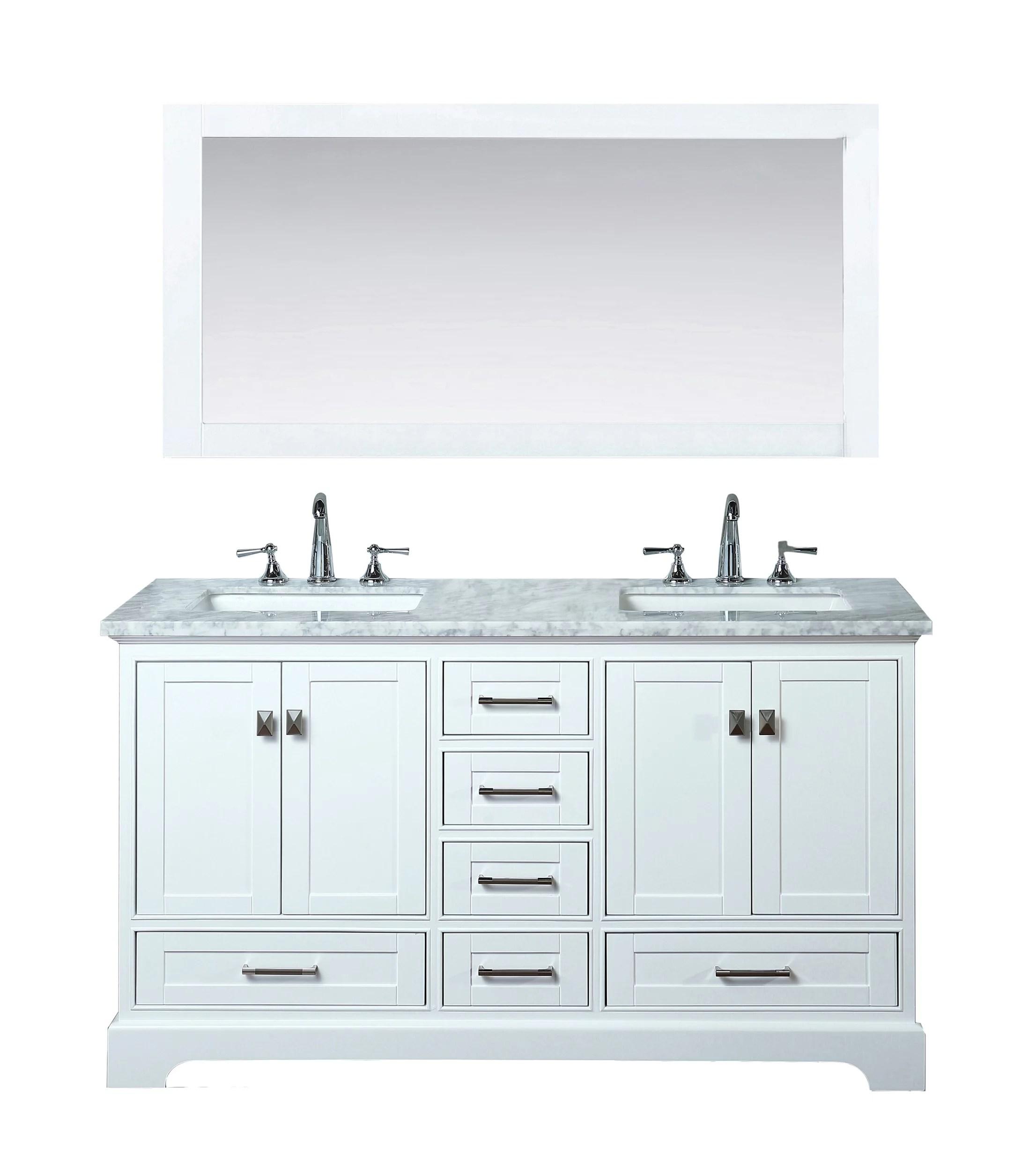 Stufurhome Newport White 60 Inch Double Sink Bathroom Vanity With Mirror Walmart Com Walmart Com