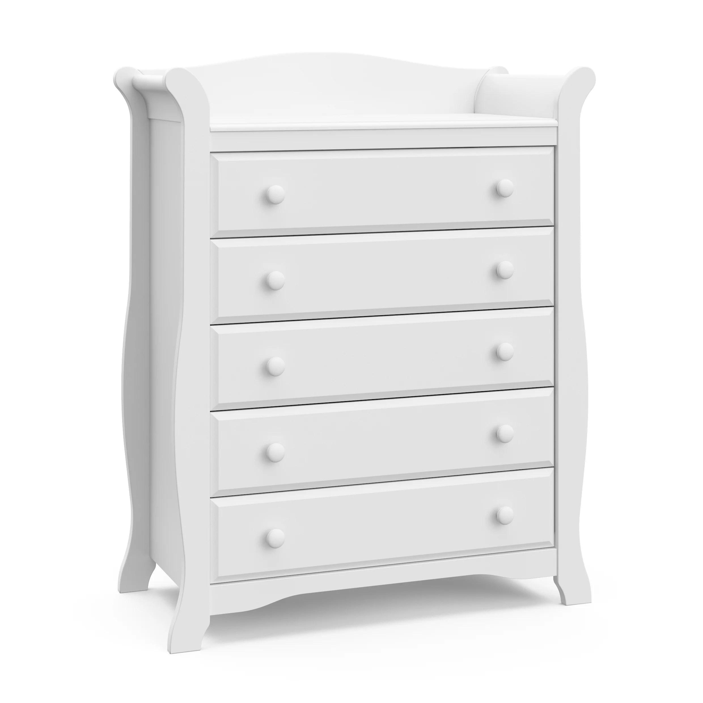 storkcraft avalon 5 drawer universal dresser white