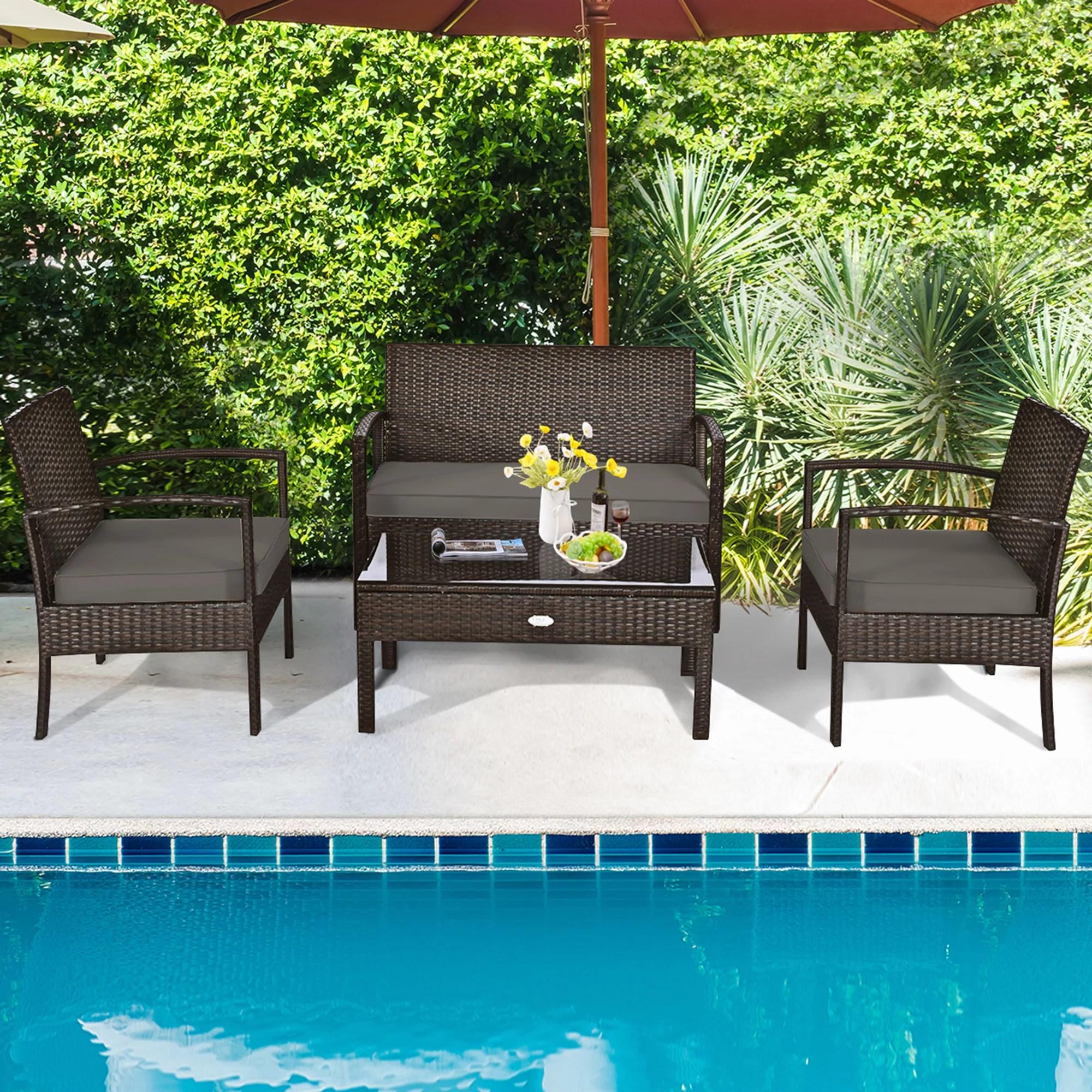 gymax patio garden outdoor 4pc rattan wicker furniture set
