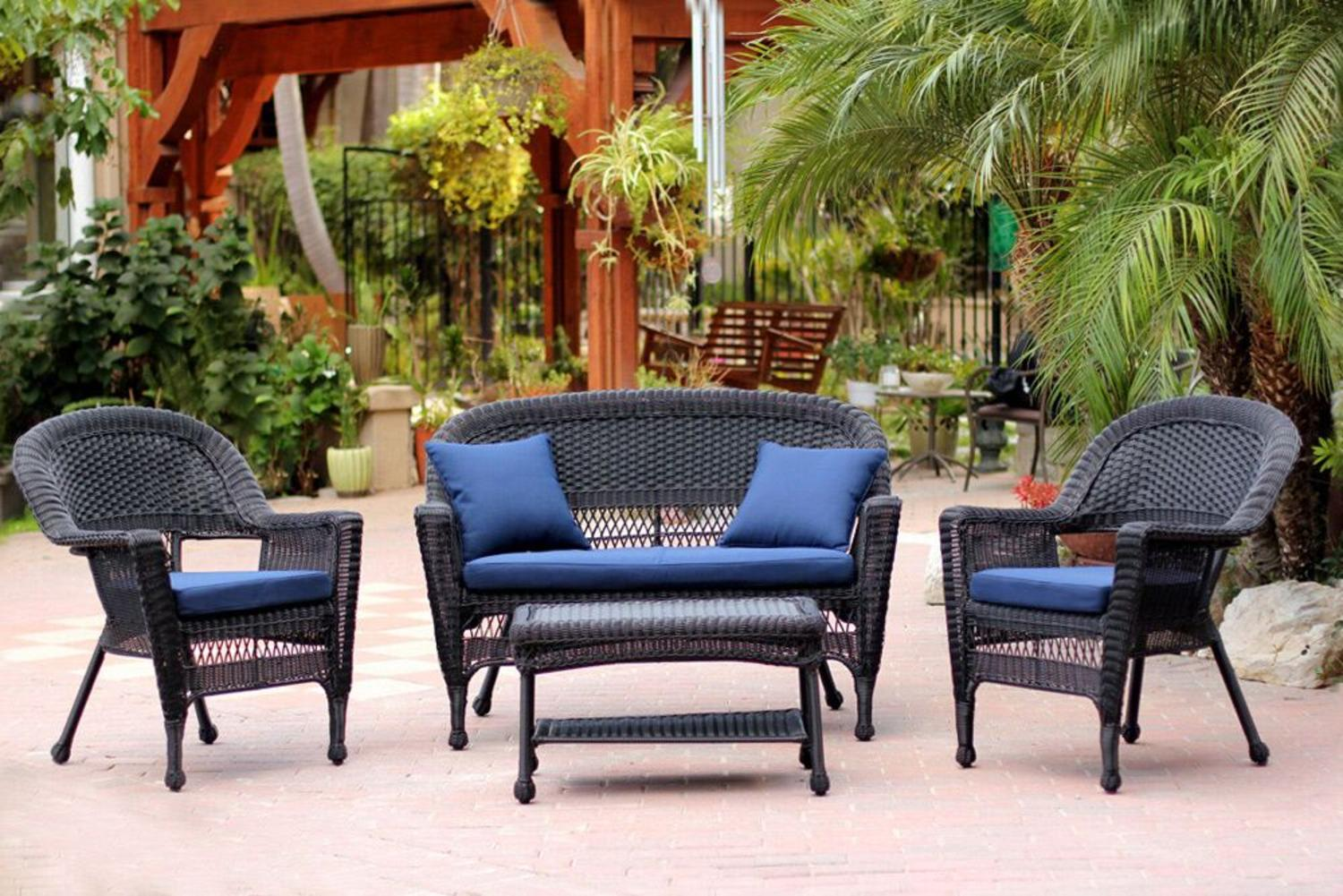 walmart wicker patio furniture sets 4-Piece Black Wicker Patio Chair, Loveseat & Table