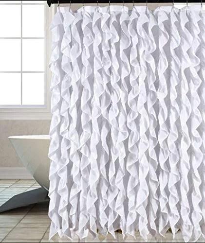 waterfall shabby chic ruffled fabric shower curtain white