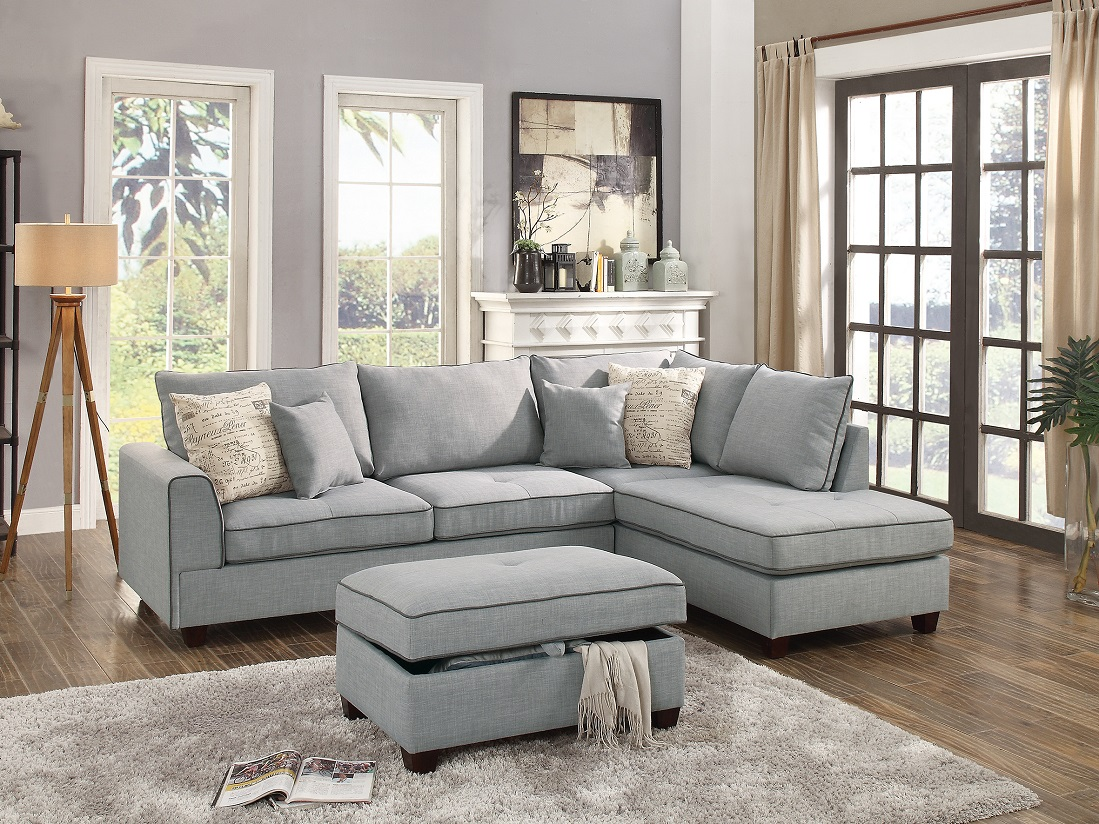 beautiful design 3 piece sectional set light grey color dorris fabric crafted large plush pillows reversible chaise sofa storage ottoman