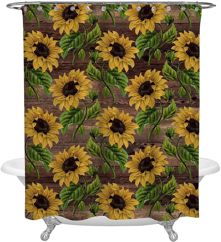 sunflower shower curtain 72x72 inch polyester fabric for a rustic farmhouse bathroom