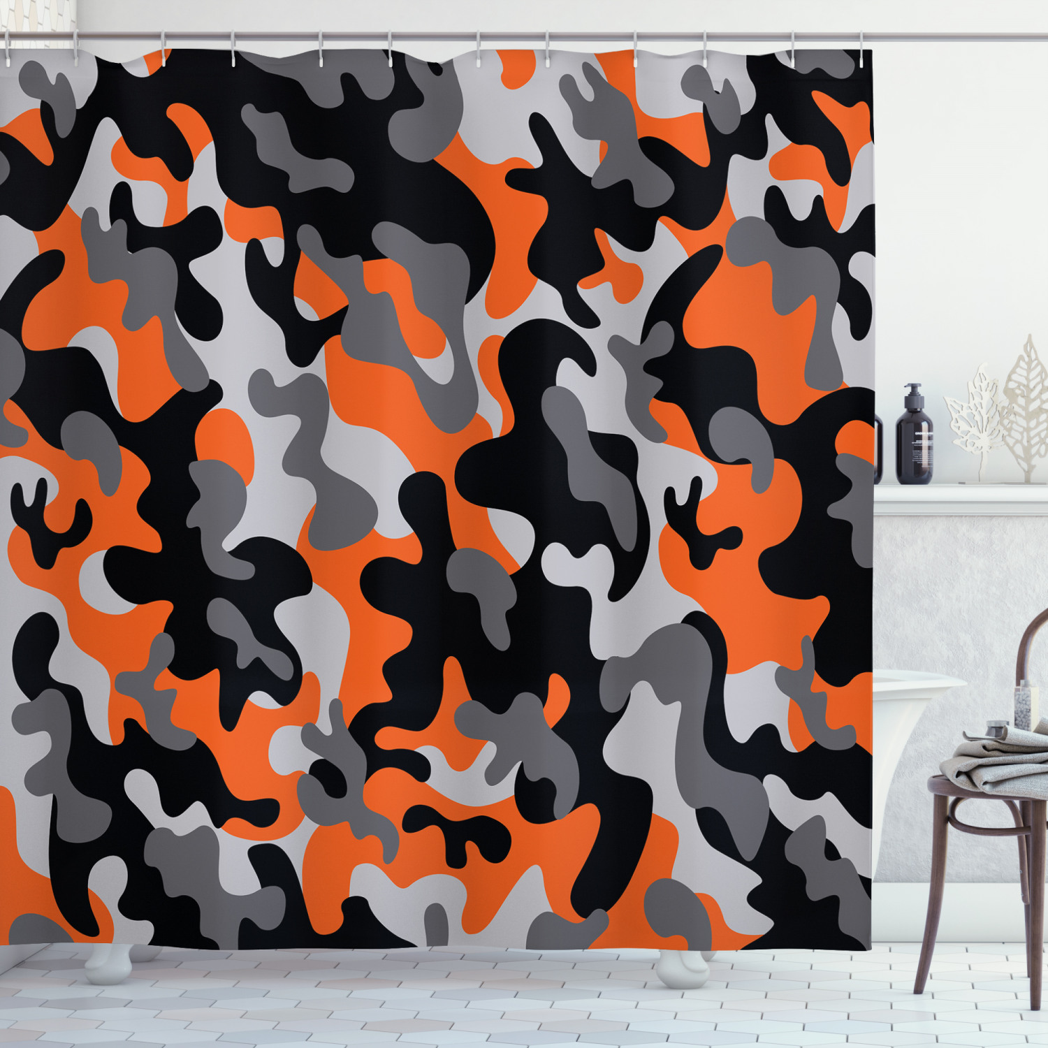 camo shower curtain vibrant artistic camouflage lattice like military service combat theme modern fabric bathroom set with hooks 69w x 84l inches