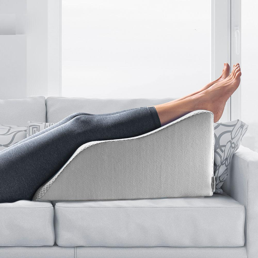 lounge doctor elevating leg rest pillow wedge foam w wine cover foot pillow leg support leg swelling vein issues lymphedema restless legs pregnancy