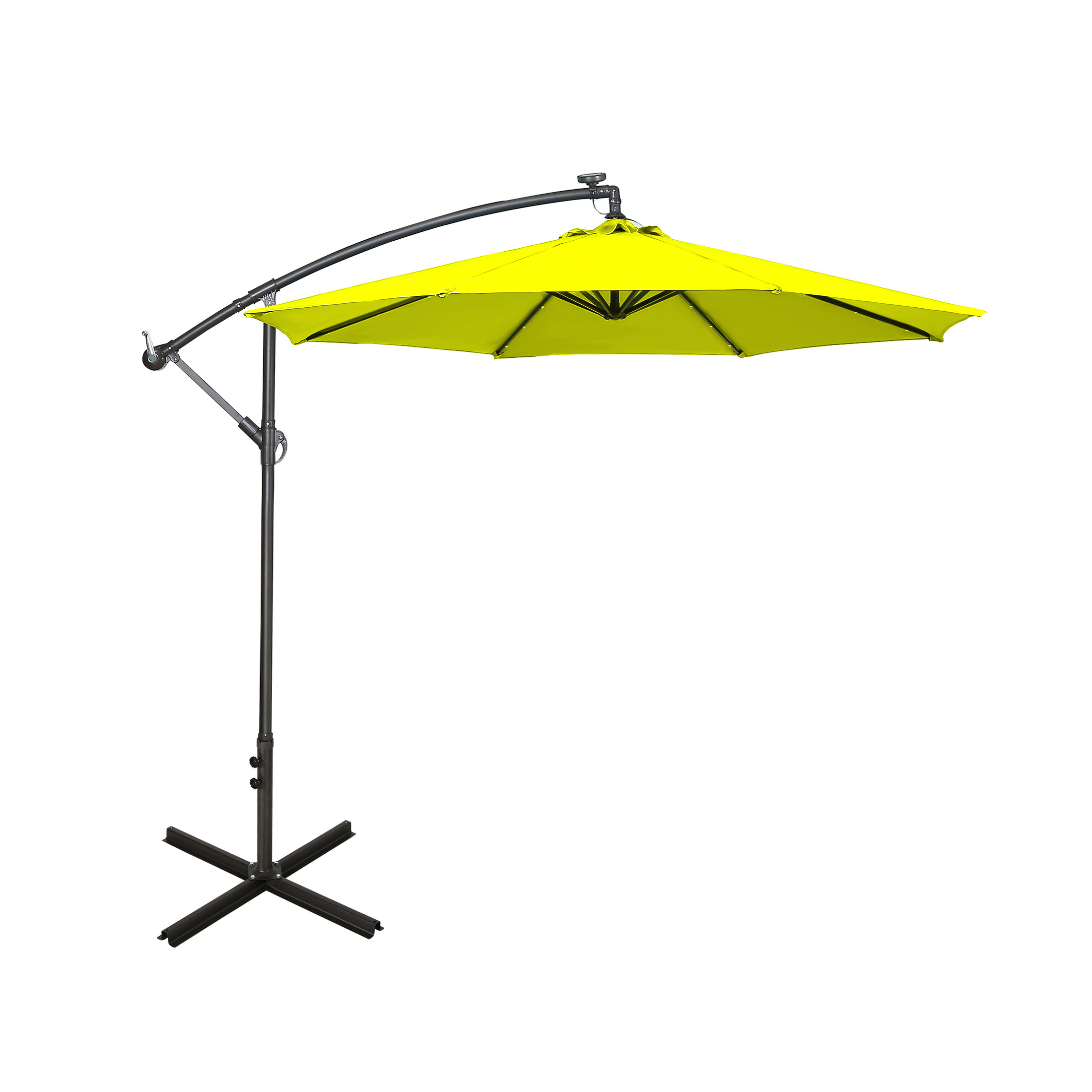 10 ft cantilever hanging patio umbrella with solar led lime green
