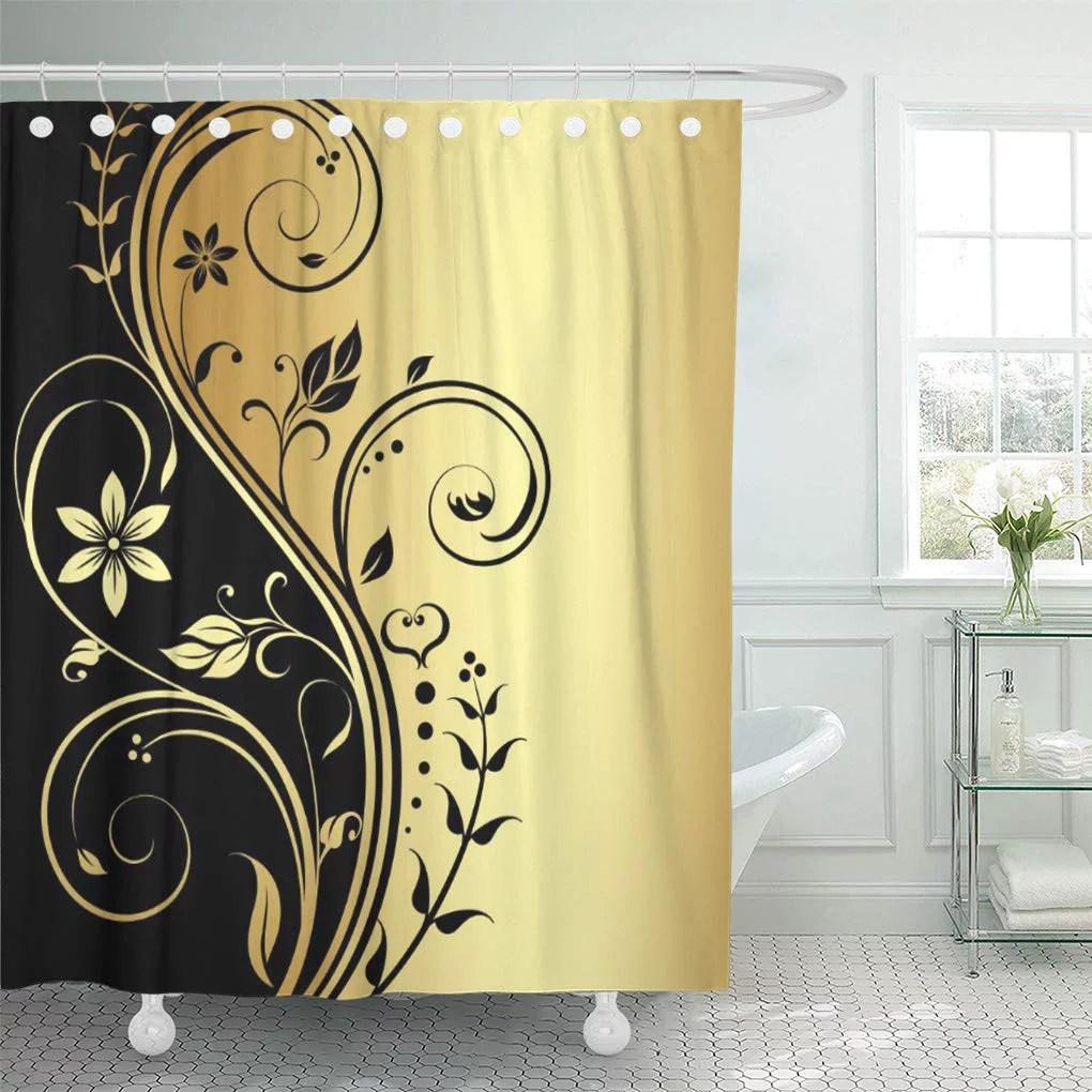 cynlon vintage elegant gold floral black trendanista chic bathroom decor bath shower curtain 66x72 inch