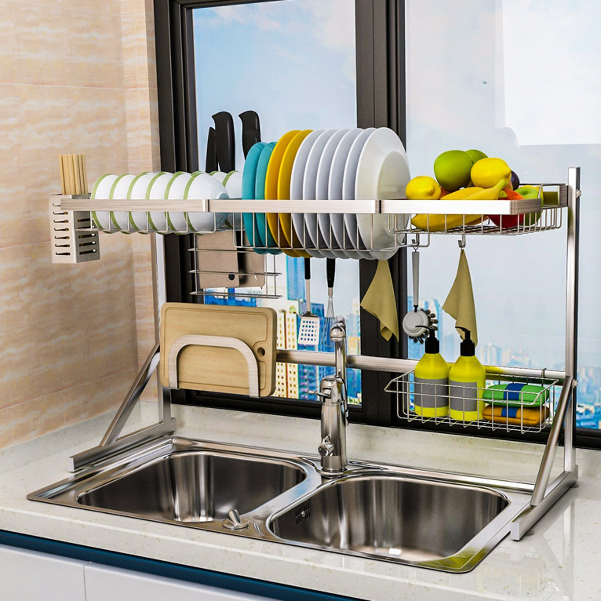 over sink dish drying rack stainless steel stable dish drainer shelf rust free multifunctional storage organizer with utensils holder for kitchen sink