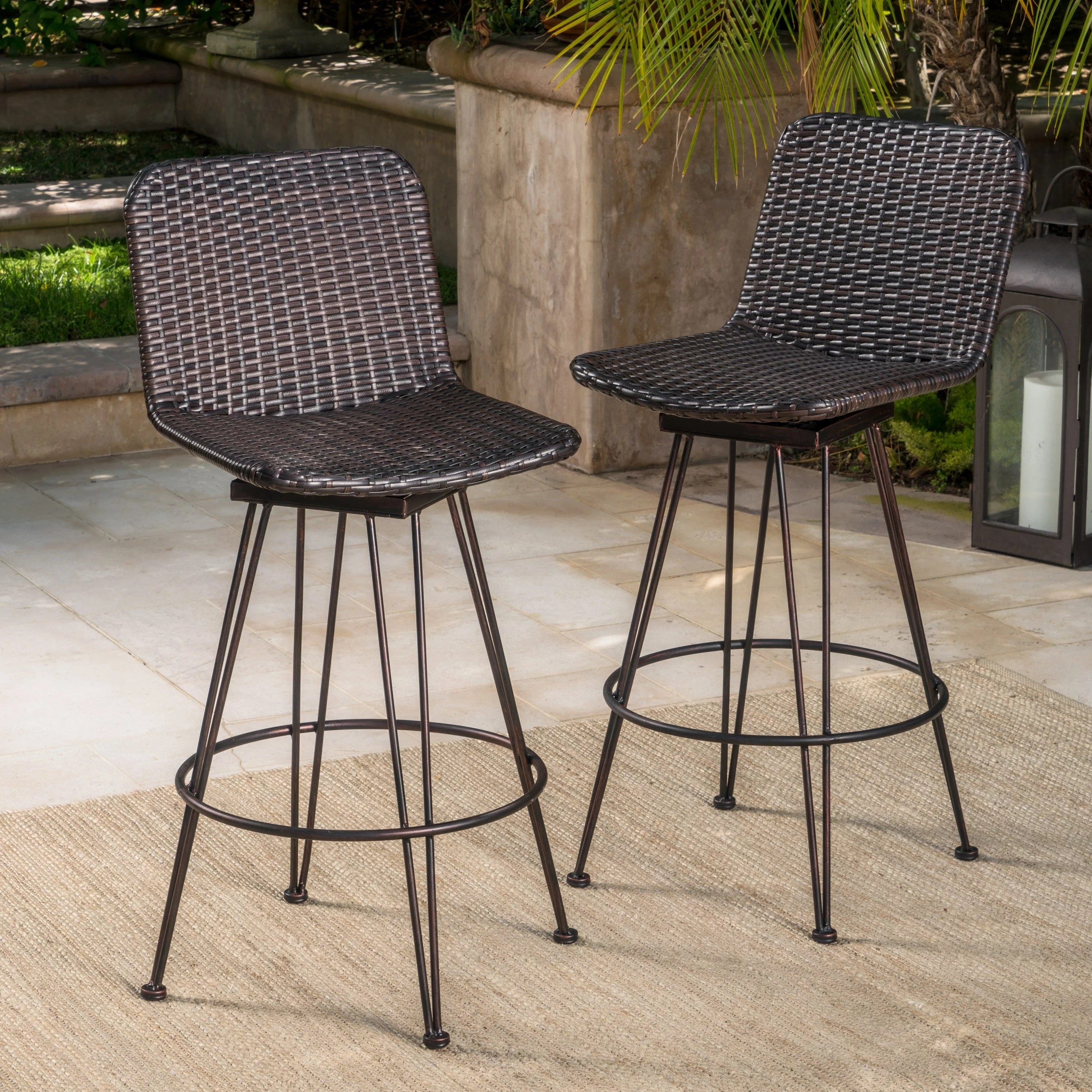 Topanga Outdoor Wicker Barstools With Black Brush Copper Iron Frame Set Of 2 Multibrown Walmart Com Walmart Com