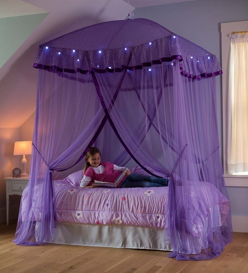 sparkling lights canopy bower for beds size to on Pink Canopy For Twin Bed id=47210