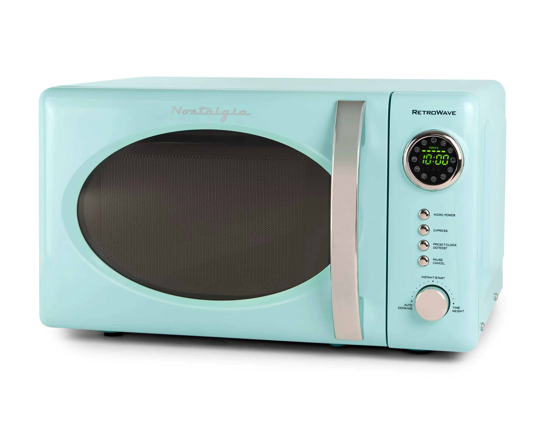 nostalgia 0 7 cu ft 700 watt countertop microwave oven aqua rmo7aq