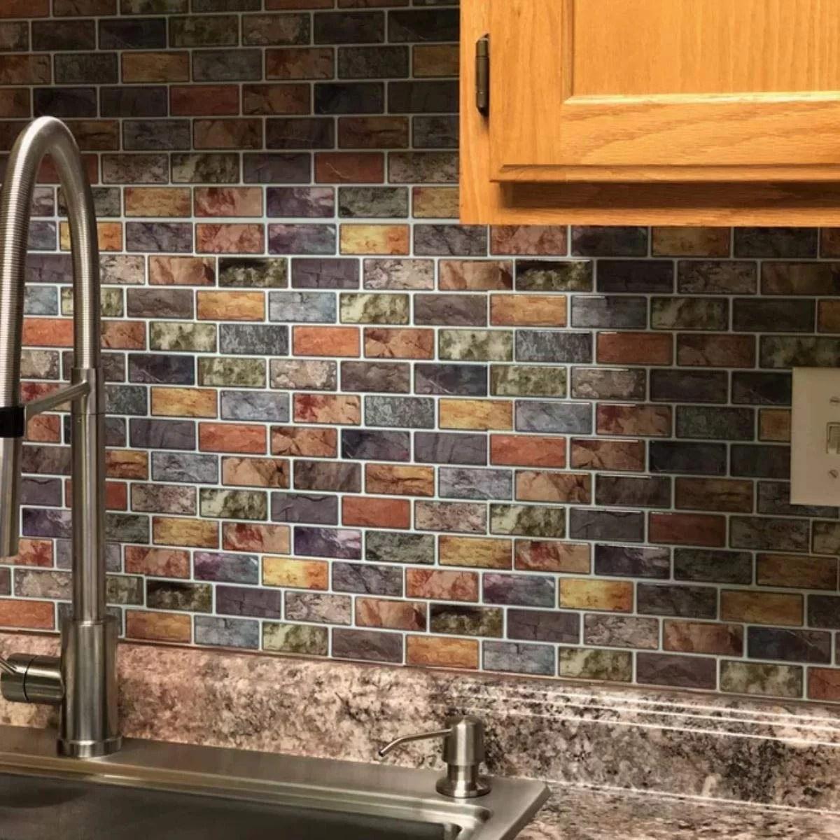 art3d 10 sheet peel stick kitchen backsplash sticker 12 x 12 faux ceramic tile design walmart com