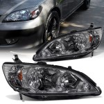 For 2004 2005 Honda Civic Headlight Assembly Smoke Housing Headlamps Replacement With Amber Replector Driver And Passenger Side Walmart Com Walmart Com