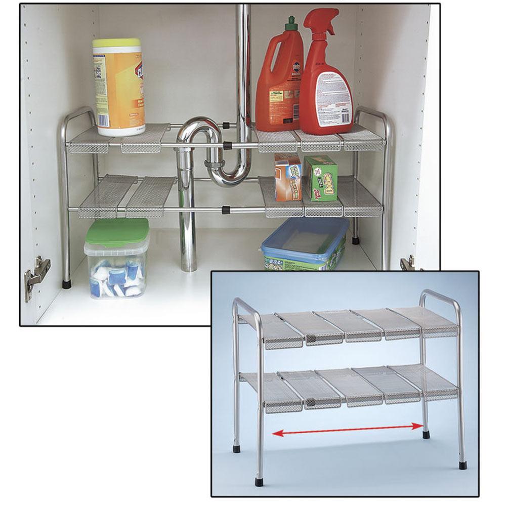 2 tier expandable adjustable under sink shelf storage shelves kitchen organizer walmart com