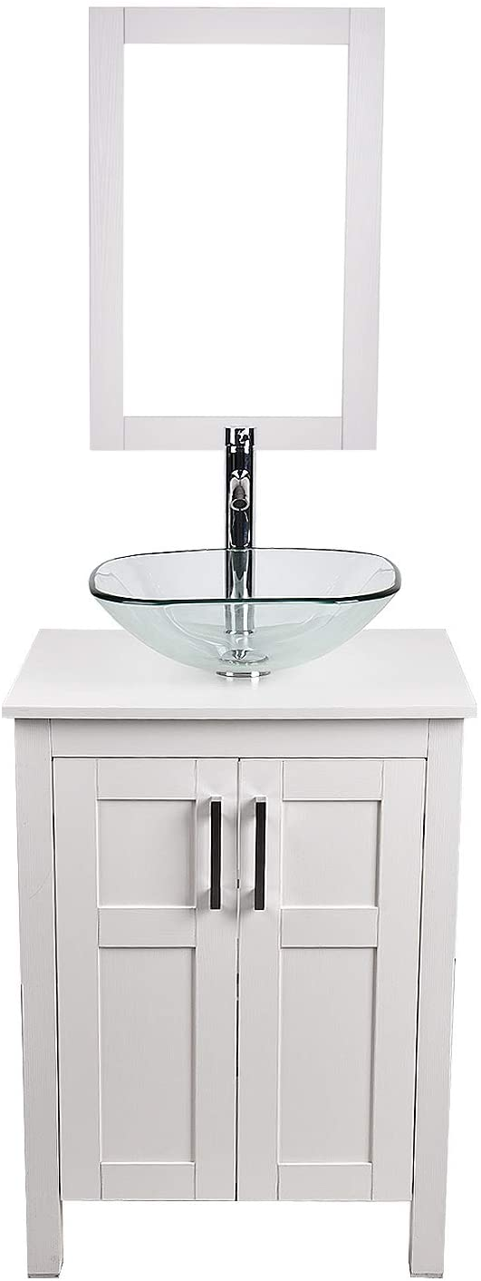 24 inch white bathroom vanity and sink combo modern mdf cabinet with wall mounted vanity mirror and water saving vessel sink chrome faucet square