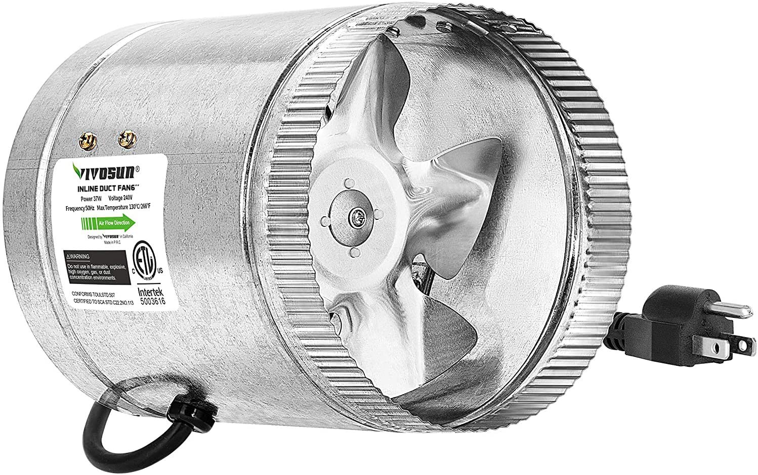 6 inch inline duct fan 240 cfm hvac exhaust intake fan low noise extra long 5 5 grounded power cord