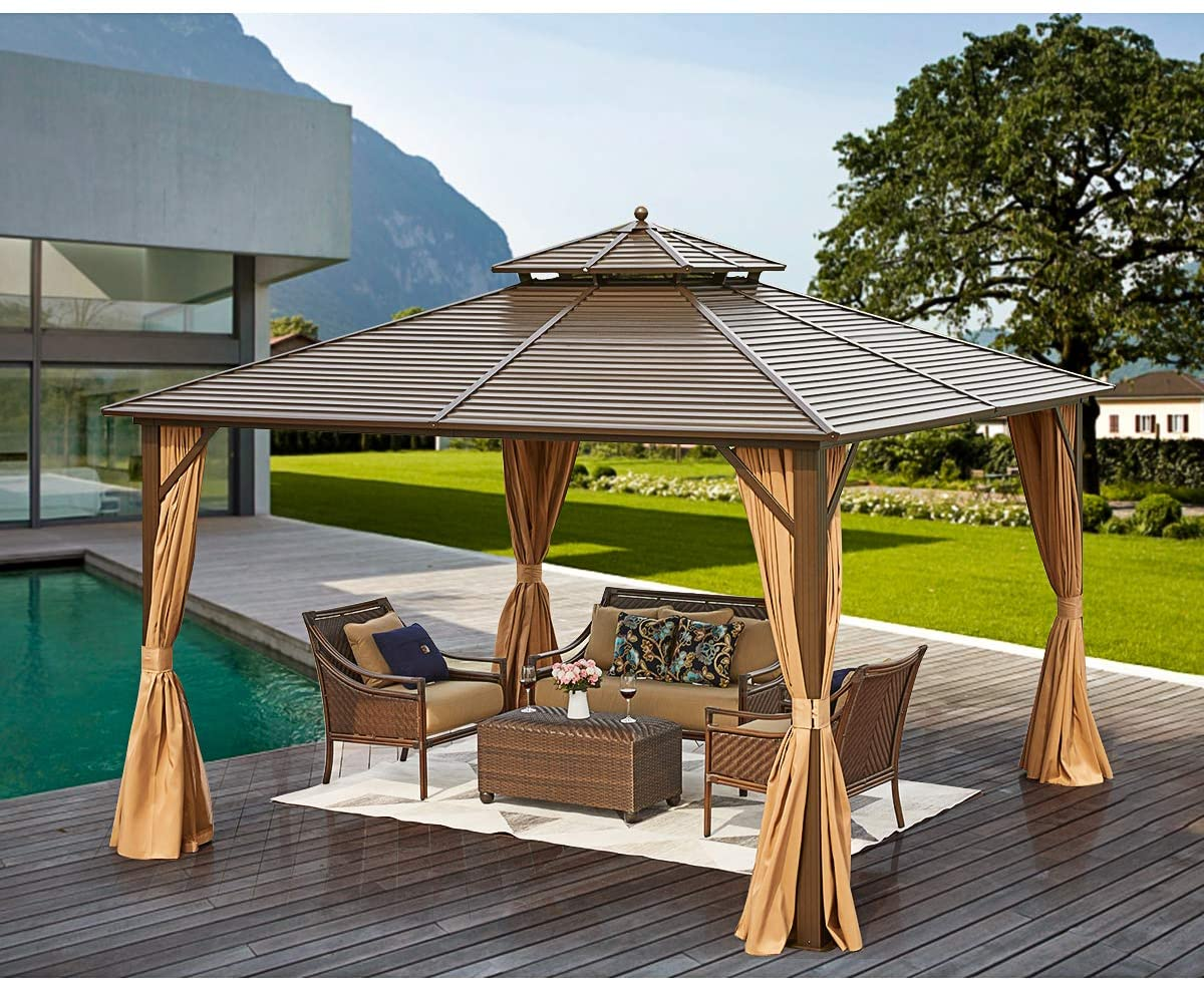 erommy 12 x 12 hardtop gazebo galvanized steel outdoor gazebo canopy double vented roof pergolas aluminum frame with netting and curtains for