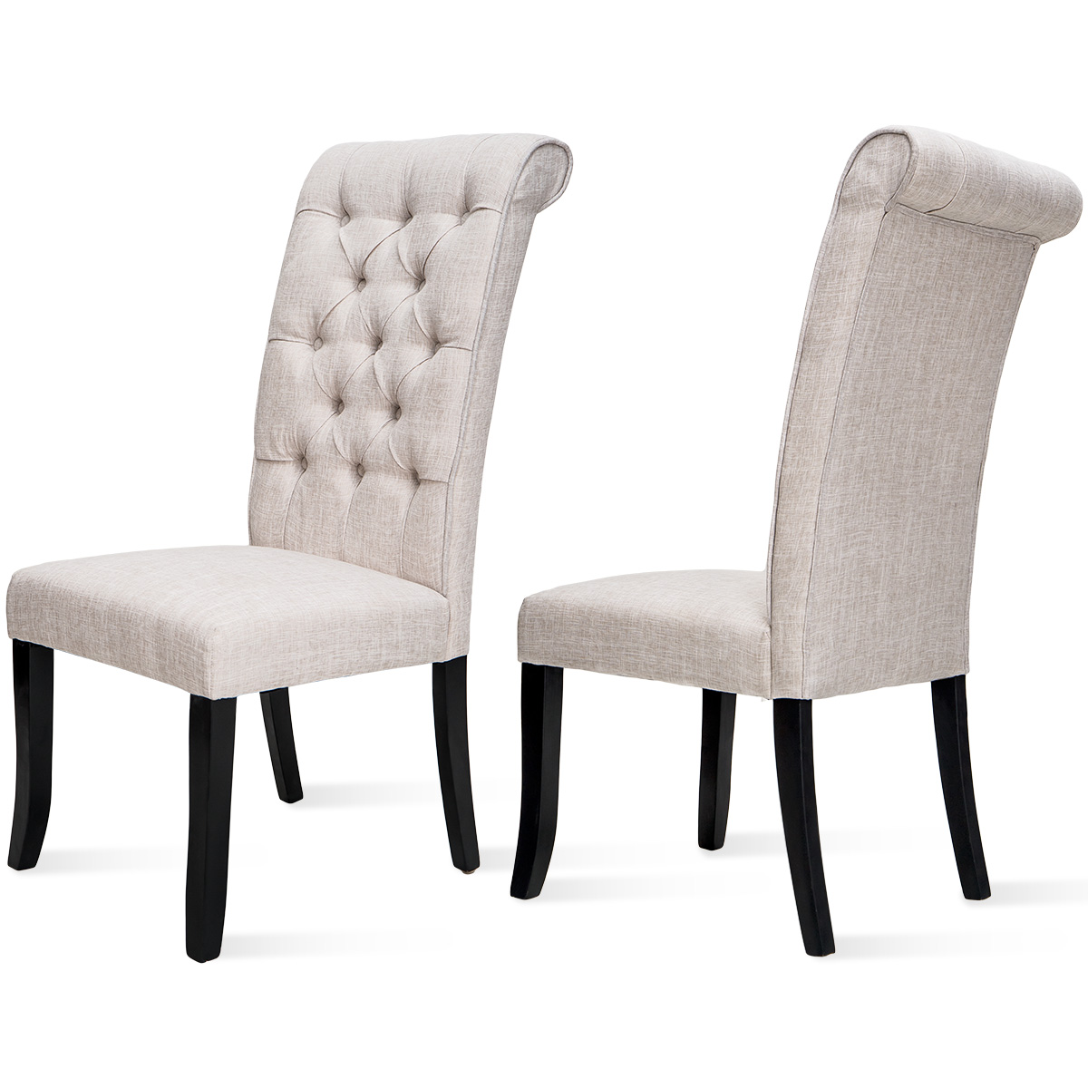 2pcs fabric upholstered parsons tufted dining chairs set of 2 upholstered high back padded dining chairs w solid rubber wood legs for