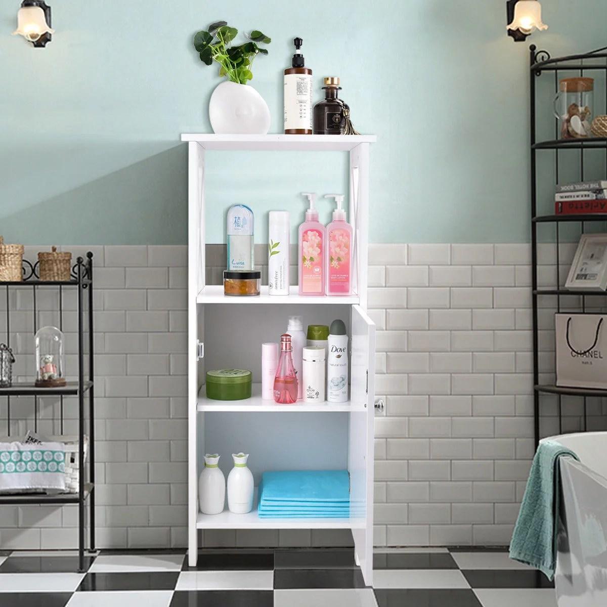 costway meuble colonne meuble wc etagere bois haute armoire salle de bain sur pied blanc cisele avec 1 porte 40 x 30 x 92 cm