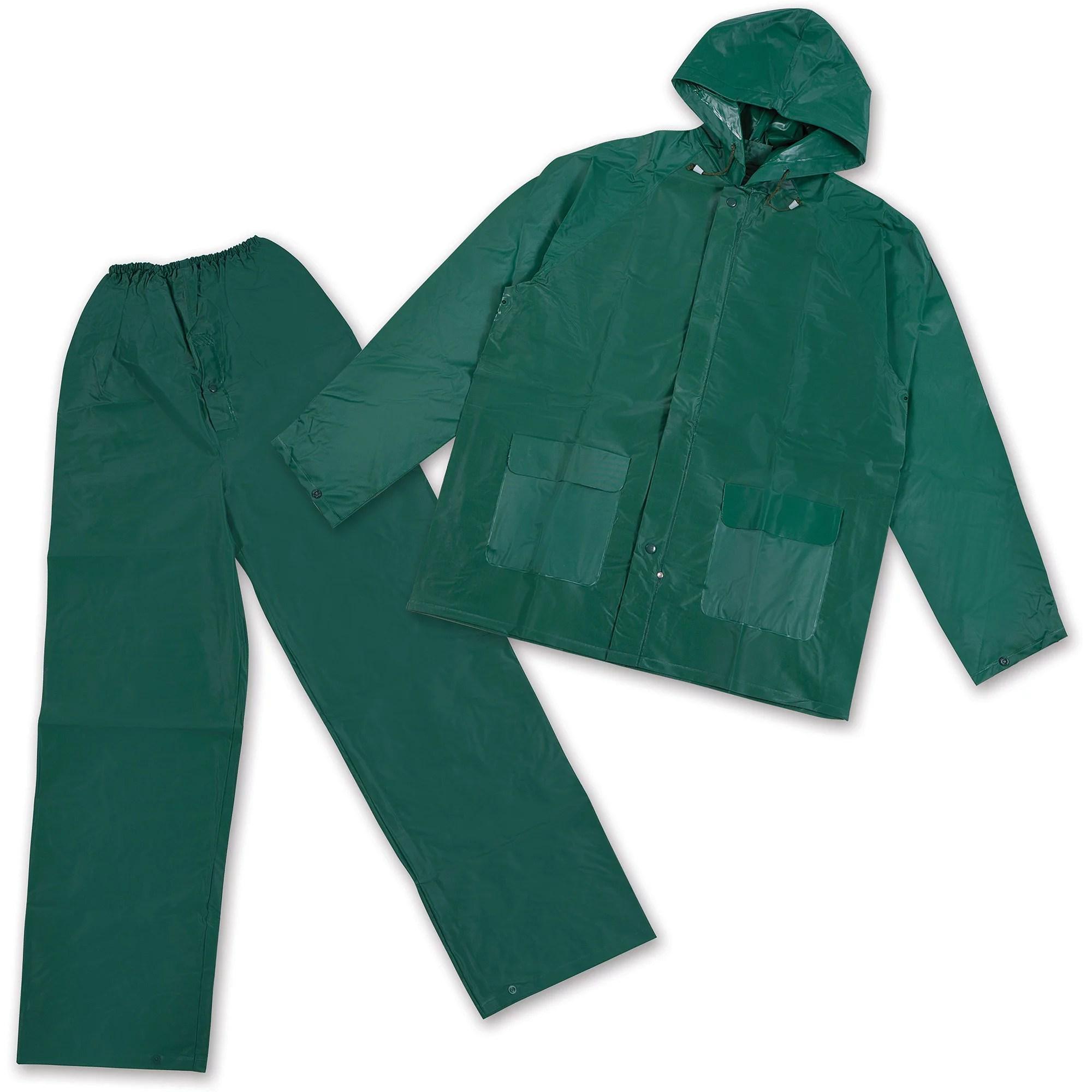 stansport men s vinyl rainsuit with hood green
