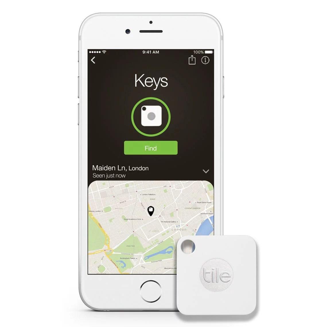 tile mate key phone finder bluetooth tracker water resistant 150 ft 1 pack refurbished walmart com