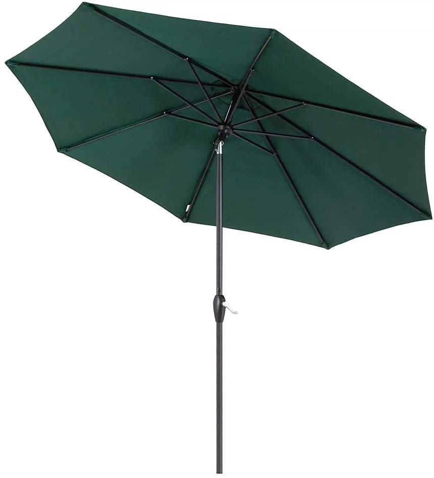tempera 9 ft patio umbrella outdoor garden table umbrella with auto tilt and crank 8 steel ribs forest green